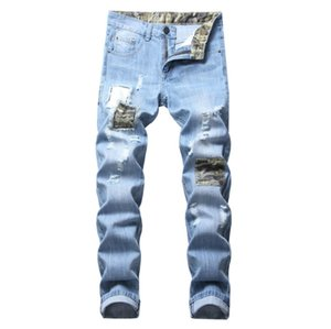 Yeni Patchwork Erkekler Moda Jeans Erkek Casual İnce Tasarım teared Sıkıntılı Kamuflaj Patchwork Denim Jeans Size28-42