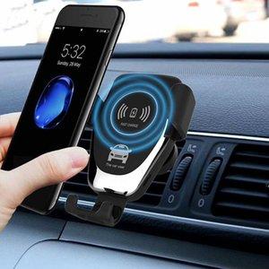 La gravedad automática Qi hilos del coche del montaje del cargador para IPhone X 8 8Plus 10W carga rápida titular del teléfono para Samsung S8 8+
