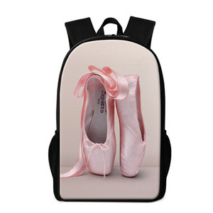 Designer-Cute Toe Dancing Ballet Print Backpack For Teenagers Trendy Bookbag Lightweight Rucksack Girl Shoe Pattern Personalized Kids S Ipcp