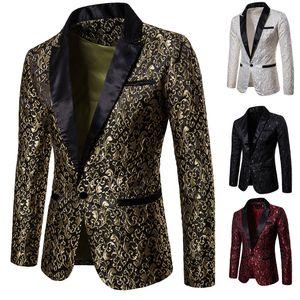 Auf Lager Jacquard Weave Herren Prom Ansaugen Erreichte Revers Eine Taste Spitze Hochzeitsanzüge für Männer Bühne Kostüm Blazer nur die Jacke