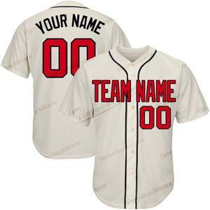 Personalizado Baseball Jerseys Bordado Bege Jersey Qualidade Superior Produtos Diretamente Qualquer Nome Qualquer Número Frete Grátis