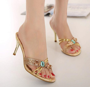 2012-4 Party Evening Gold With Colorful Stones High heel Dress Shoes size 35 to size 40 UK7