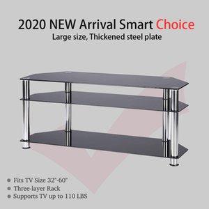 Tre strati di 1 metro di lunghezza nero vetro temperato da 60 pollici TV Cabinet Soggiorno TV cremagliera TV Cabinet bagagli