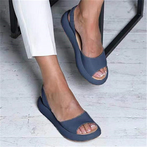 Marchwind Women Flat Summer Sandals Woman Peep Toe Female PU Fashion Summer Shoes 2020 NEW Comfortable Plus Size Shoes Women