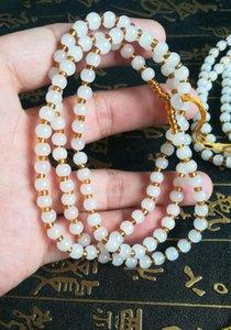 Xinjiang Hetian giada bianca collana di perline consegna libera C4