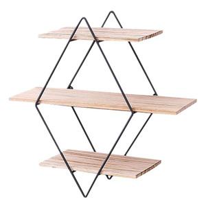 Qualidade parede de madeira rústica flutuante Prateleiras decorativa Prateleira Tier 3 Geometric Diamante