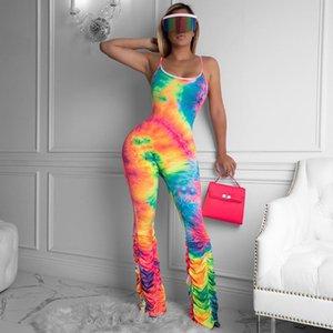 Zoctuo Summer Tie окрашенного плиссе Вскользь Комбинезоны для женщин ремня Backless Моды Sexy Bodycon Комбинезон Streetwear Lady игровой одежды