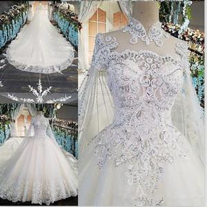 Обтягивающие кружевные аппликации с высокой шеей A-Line Свадебные платья Вечерние платья из тонких часовен с бисером и блестками Свадебные платья 2020 Vestidos De Marriage Custom