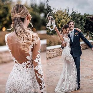 2019 Nova Praia Mangas Compridas Sheer Sereia Vestidos De Casamento Tripulação Pescoço Aberto Para Trás Applique Lace Plus Size Bohemian Vestidos De Noiva