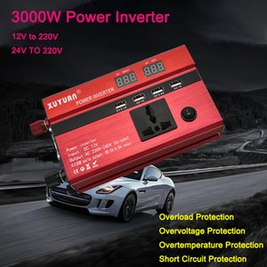 Car Inverter 3000W 12 24V to 220V LED Digital Display Universal Car Power Inverter with 4 USB Ports Electric cigarette Charger