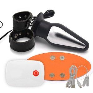 Pulso de Smartphone Anal Choque Elétrico Plugue Remoto Electro Vibrador Com Dildo em MX191228 APP Ring para Sex Toy Adulto Men Masturbator Pen GQFG