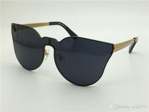 New fashion vintage designer sonnenbrille großes gesicht logo 2120 charmante cat eye retro rahmen rahmenlose uv-lens steampunk stil im freien