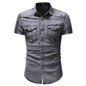 Styliste hommes occasionnels chemises de luxe chemise de ressort de vêtements pour hommes de la nature humaine nouveaux jeans Une chemise à manches courtes Splicing Denim