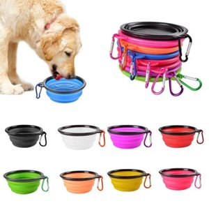 그릇 애완 동물 물 접시 먹이를 먹이 개 고양이 휴대용 접이식 그릇 후크 접을 수있는 확장 가능한 경량 볼 Feerders LSK53 그릇