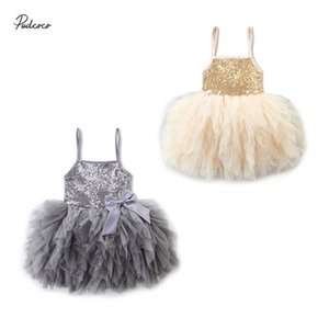 2020 2-7Y Toddler Baby Girls Princess Dress Summer Sleeveless Sequins Pegeant Party Knee Length Tutu Dress Kids Outfits