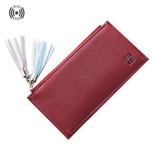 Женщины двойные кошельки с карманом на молнии 10 карт слоты кисточкой | тонкий RFID блокировки длинный кожаный кошелек RFID блокировки кожа Trifol