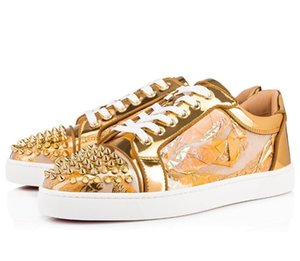 Elegant Red Soles Shoes Men High-top Style Golden Embellished Leather Sneakers Red Bottom Luxury Men's Leisure Women Men Outdoor Trainers