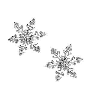 10 пар / лот новый белая снежинка кубический цирконий драгоценные камни серьги-гвоздики стерлингового серебра 925 пробы с гвоздиками свадебные серьги для женщин