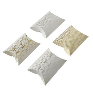 Pillow Shape Candy Box Wedding Valentine's Day Party Gift Candy Boxes Craft Paper Pillow Shape Foil Gold Silver Candy Case