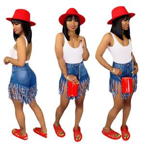 Femmes d'été Shorts Tassel Denim Shorts Taille Haute Femmes Jeans Maigre Designer De Mode Zipper Fly Pocket Vintage Shorts Plus La Taille A52002