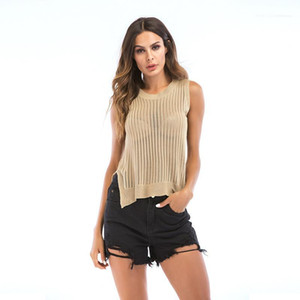 Summer Knit Womens Tank Top Hollow Out Sleeveless Sexy Ladies Tanks Casual Split Designer Female Tops