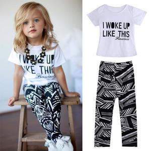 Hot Baby Girls Stripe I Woke Up Like This enfant en bas âge chemise et un pantalon Tenues Set vêtements pour enfants des tenues 2pcs