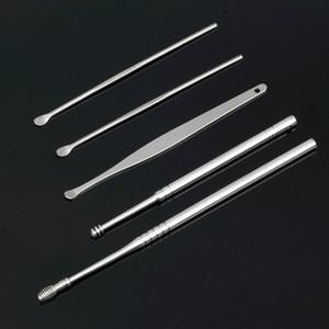 DHL бесплатные 5 шт. / Установленные для выбора ложки ушной воск Удаление очиститель уха Уход за уходом для красоты инструменты многофункциональный портативный комплект инструментов для прибора уха с коробкой