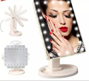 Make Up LED Mirror 360 Degree Rotation Touch Screen Make Up Cosmetic Folding Portable Compact Pocket With 22 LED Light Makeup Mirror WCW236