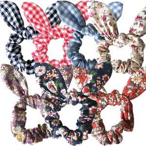 Buffalo Stirnbänder Plaid Kaninchen-Ohr-Blumen Scrunchies Leopard Punktpferdeschwanz-Halter Hair Mädchen Elastic-Knoten-Bogen-Haar-Band-Robe LJJA3776