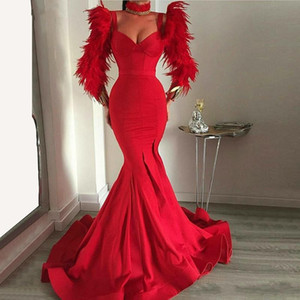 Stunning Mermaid Red Feather Abito da sera 2019 Slim Party Gown maniche lunghe Prom Dresses vestido de festa longo