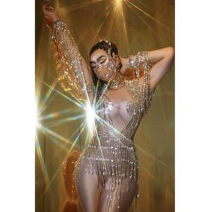 Los trajes de las mujeres Escenario Bailarín Bar Singer Mostrar traje de baile danza de poste Celebre traje de Femal con cuentas pendientes con lentejuelas Spandex Body