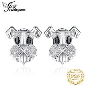 Schnauzer Dog Genuine Black Spinel Stud Earrings 925 Sterling Silver Earrings for Women Gem Korean Earrings Fashion Jewelry 2020 CX200611