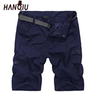 Hanqiu 2019 Pantalones cortos de carga de verano para hombres Pantalones cortos de secado rápido Pantalones cortos ocasionales flojos para hombre Pantalones cortos tácticos militares Homme tamaño Plus