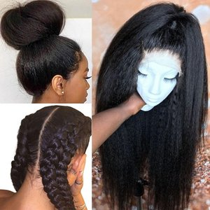 Diritta crespa Parrucca HD Glueless piena del merletto dei capelli umani parrucche per le donne 30 pollici piena del merletto falso del cuoio capelluto 250 Densità parrucca mai Beauty