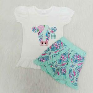 Yeni yaz 2020 kız bebek giyim çiçek süt inek 2 adet bebek kız elbise setleri çocukların butik çocuk giysileri donatacak