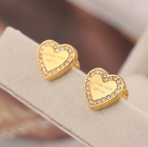 Orecchino a bottone in acciaio al titanio 316L famoso Designer di lusso a forma di cuore Orecchini da donna con ciondolo Orecchini moda all'ingrosso di gioielli