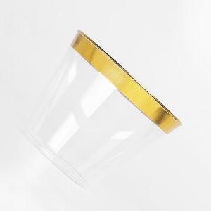 9 oz Tek Havayolu Kupası Altın Çerçeveli Tek Kalınlaşmak Sert Plastik Havayolu Bardaklar PS İçecek Kupa Parti Düğün Mutfak DBC DH1094 Malzemeleri