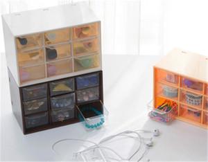 الإبداعية تسعة شعرية شفافة مرئية مجوهرات تخزين مربع مكتب المنزلية درج مجوهرات حالة فرز سطح المكتب
