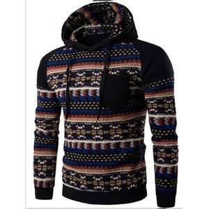 2018 New fashion wide-waisted casual men clothing cotton argyle printed men's raglan sleeved hoodie Sweatshirt male hip hop