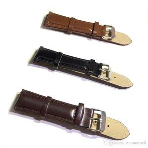 18mm 20mm Black Brown Genuine Calfskin Leather Watch Band Strap Watchband