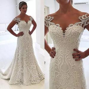 Sirena 2019 Vestidos de novia vintage Vestidos de novia de encaje completo Apliques de trompeta Sheer Neck Vestido de novia de talla grande