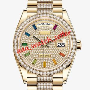 3 Farben Luxus Herrenuhren Master Day-date 128.349 M128349 126333 Diamant Lünette mechanische automatische Präsident Armband gefror heraus Uhr