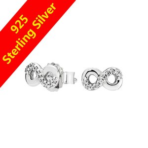 Wholesale-925 Sterling Silver Stud Earrings CZ Diamond Unlimited Love with original box for Pandora jewelry ladies earrings