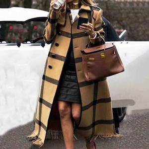 Queda Retro mistura de lã Brasão Overcoat britânico amarelo Gráficos Longo Trench de Mulheres Winter Plus Size Escritório das senhoras Overcoats 2019