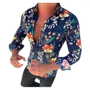 كم طويل لون طبيعي شيرت ملابس الرجال مصمم طباعة عارضة أزياء طباعة الزهور قمصان