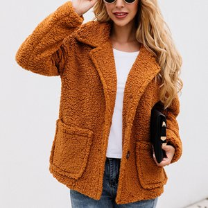 Duzeala Short Button Lapels Solid Coat Women Thicken Pocket Long Sleeve Wool Coat Autumn Winter 2019 New Style Woman Coats