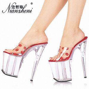 Nianzheni nuevo 20 cm tacones altos zapatillas Club noche Sexy Pole Dancing zapatos plataforma mujeres zapatos tacones finos verano