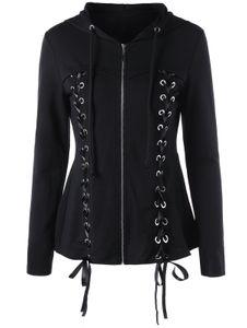 Femmes Sweats à capuche lacent capuche manches longues Casual Harajuku obscurité Automne hiver Goth Noir Sweat-shirt Taille Plus 2XL gros