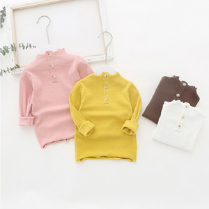 INS Girl kids clothes Long sleeve Solid Color With Buttons Shirt Spring Fall girl TOP 100% cotton Clothing
