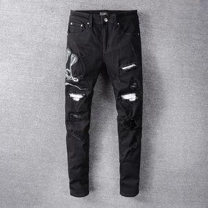 2020 style chaud-vente des jeans AMIRI noir rue haute hommes pieds minces patch imprimé denim pantalon 06
